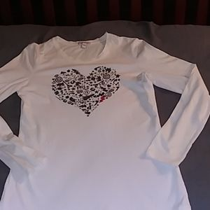 Esprit Medium Long Sleeve White/Heart T-Shirt